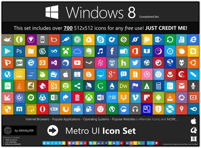 Metro UI Icon Set – 725 Icons