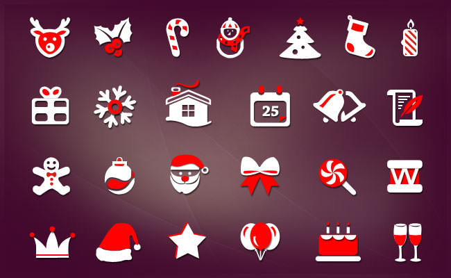 25 Christmas Icons PSD