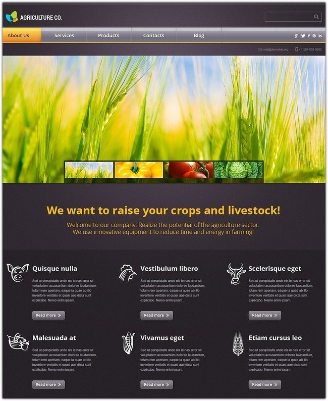 Agriculture co. WordPress Theme