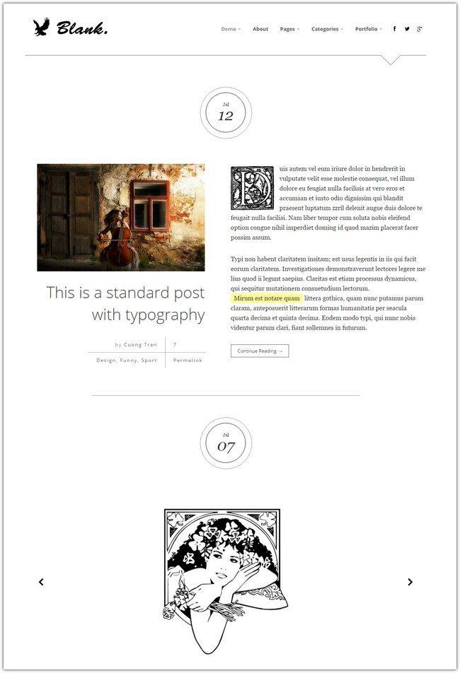 Blank - Elegant Minimalist WordPress Blog Theme