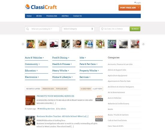 CLASSICRAFT WORDPRESS CLASSIFIED LISTING THEME