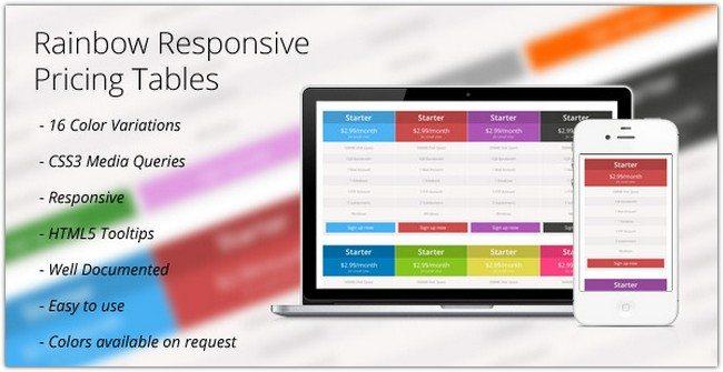 CSS3 Rainbow Responsive Price Tables