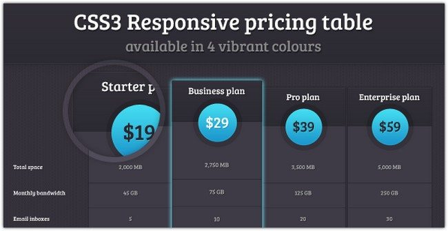 CSS3 Responsive pricing table