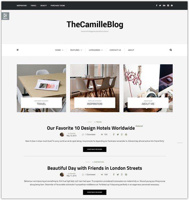 Camille - Personal & Magazine WordPress Responsive Clean Blog Theme