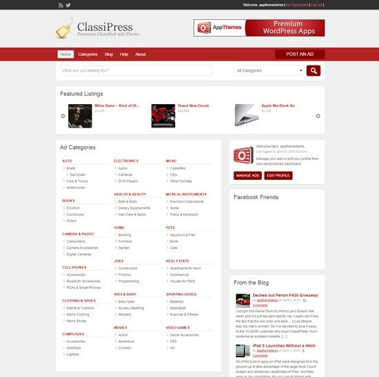 Classified Ads Software WordPress Theme