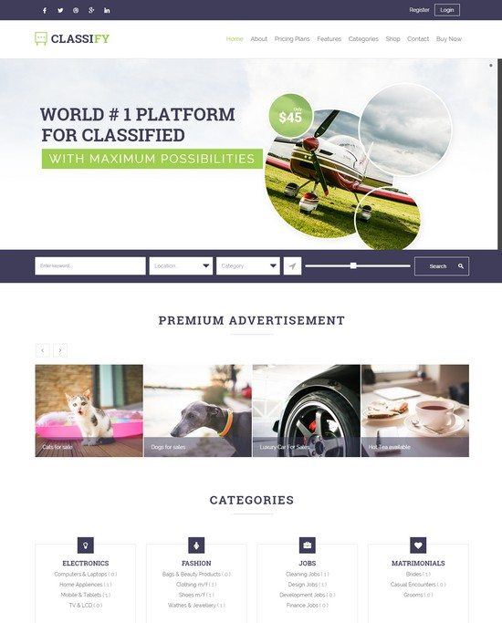 Classify Classified Ads WordPress Theme