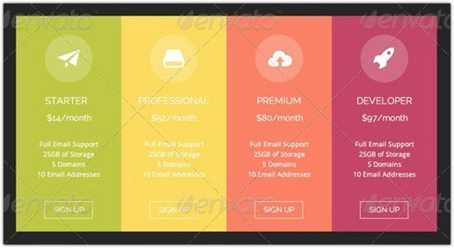 Colorful Pricing Table