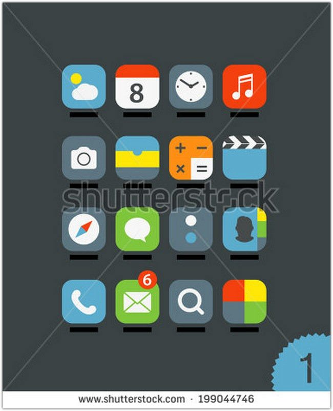 Different mobile application icons set