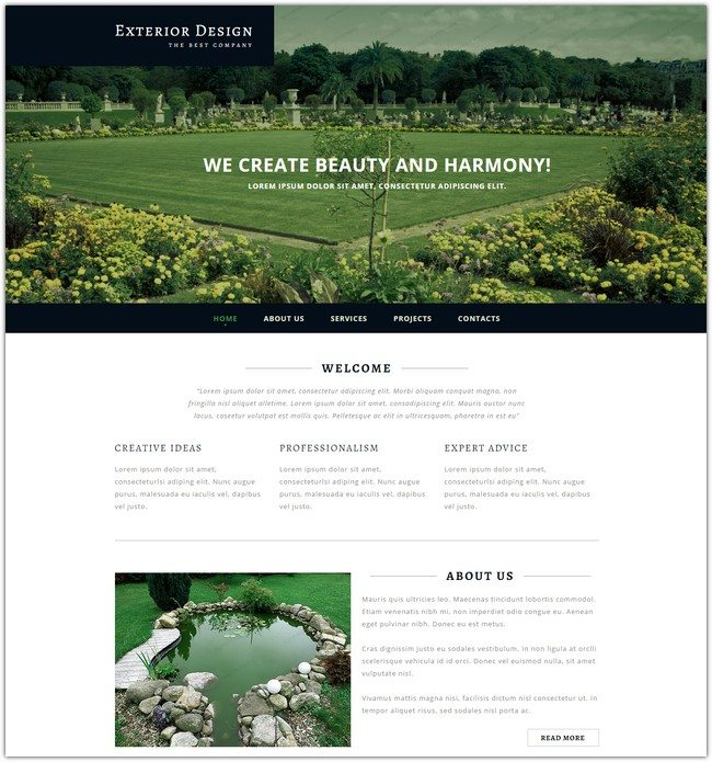 Exterior Responsive Design Website Template