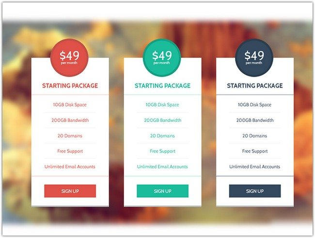 Flat & Modern Pricing Table Set