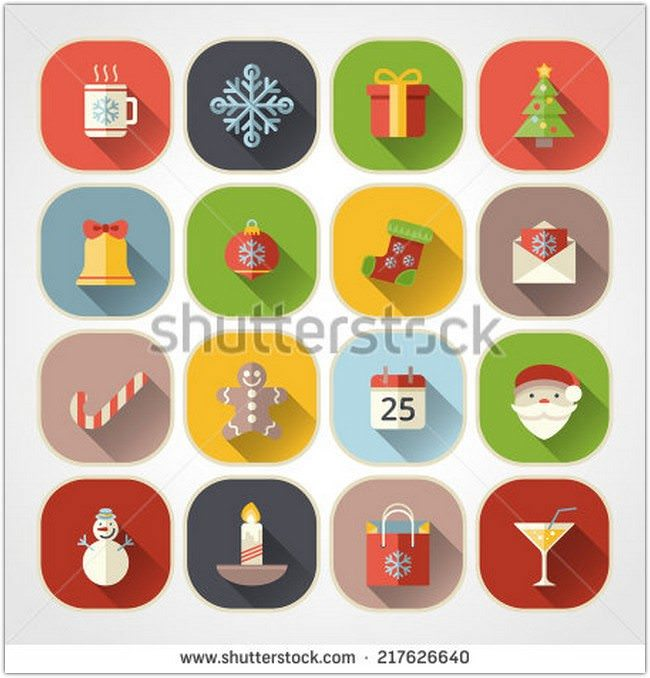 Flat color christmas icons