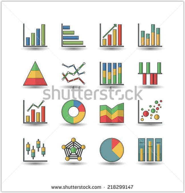 Flat color style Chart and Graph icons set