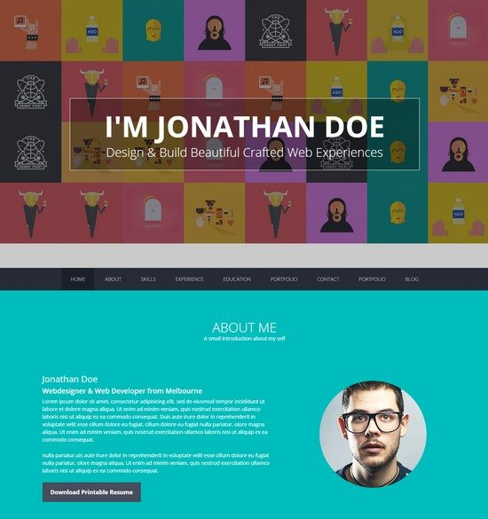 Flatoo - vCard, Resume, Personal WordPress Theme