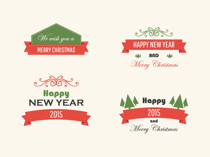 Free Vintage Vector Christmas Badges