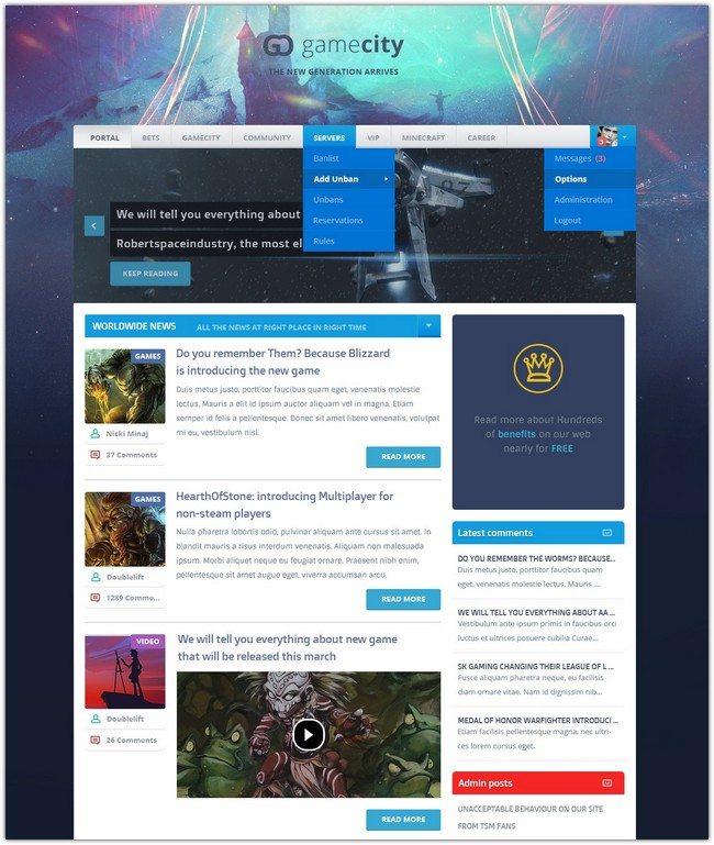 GameCity Flat & Clean Gaming Template