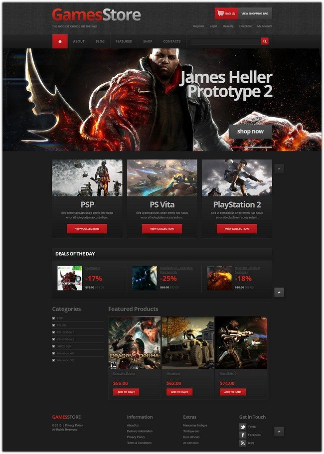 Games Store Jigoshop Theme