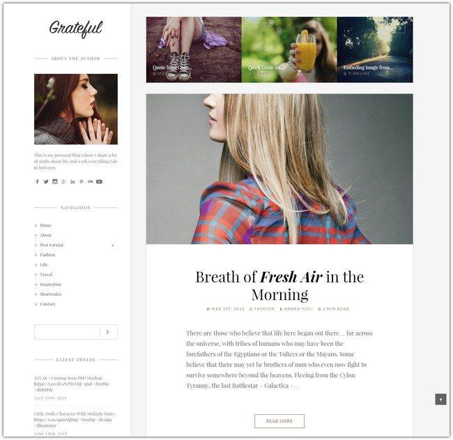 Grateful - Personal Blog WordPress Theme