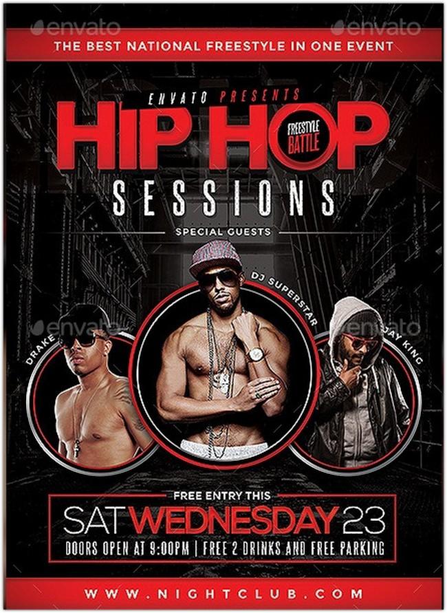 Hip Hop Sessions Event Flyer