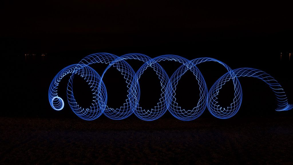 Light Painting Spiral Blue Wallpaper