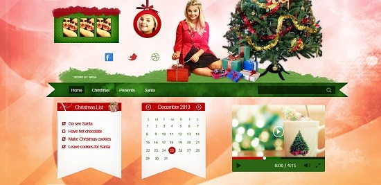 Merry Christmas header PSD