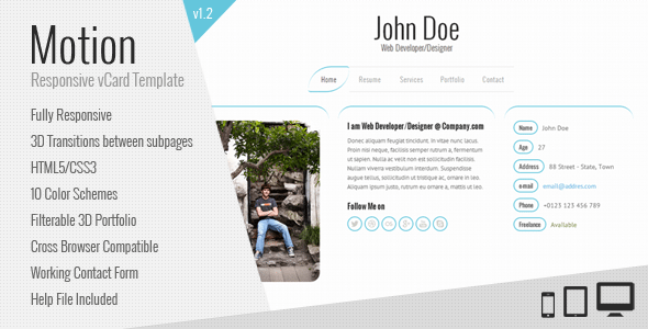 Motion-Responsive-vCard-Template