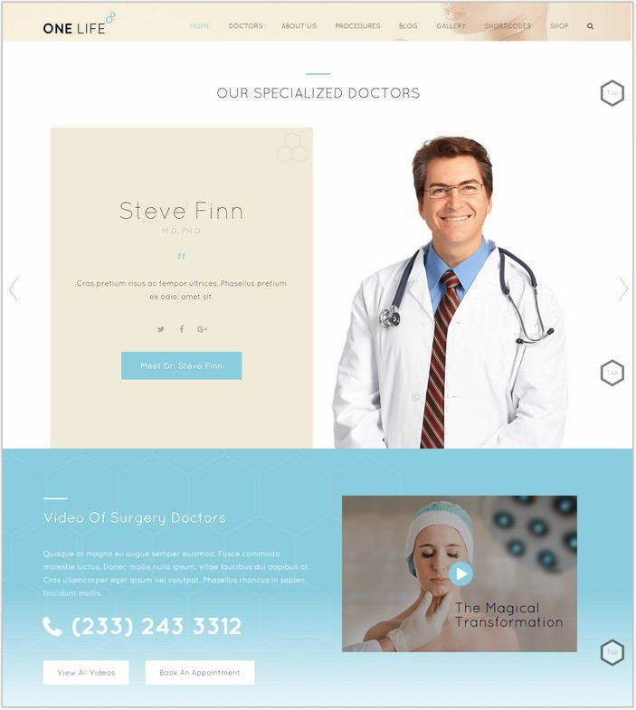 OneLife Medical | Plastic and Cosmetic Surgery Theme for Medical, Health Care