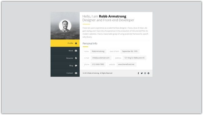 Premium Layers HTML vCard & Resume Template