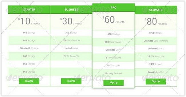Semar Flatstyle Pricing Table