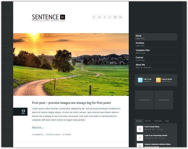 Sentence - Responsive Blog and Portfolio
