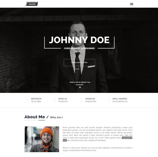 Squareroot - One Page Personal CV Resume Theme