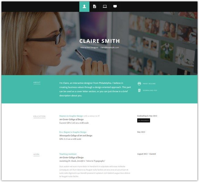 Typebig Resume – Responsive vCard Template