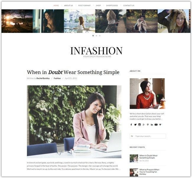 inFashion - Responsive WordPress Blog Theme