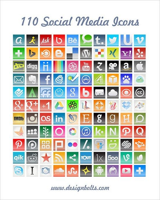 110 Free Hand Stitch Social Media Icons