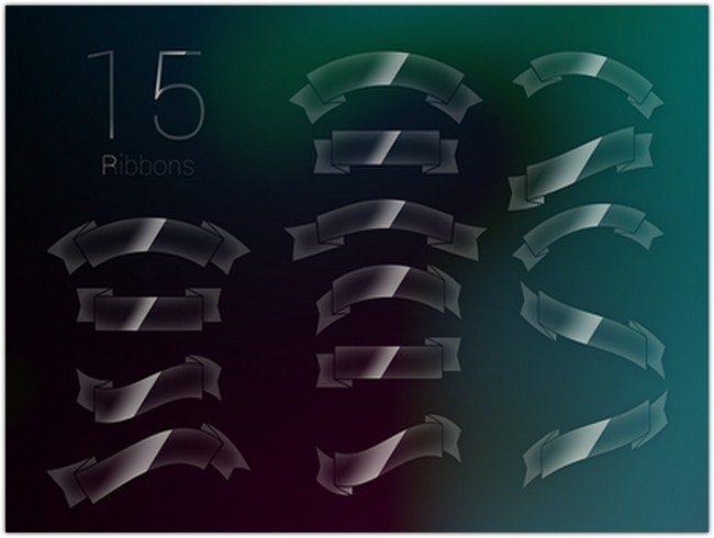 15 Glossy Ribbons PSD