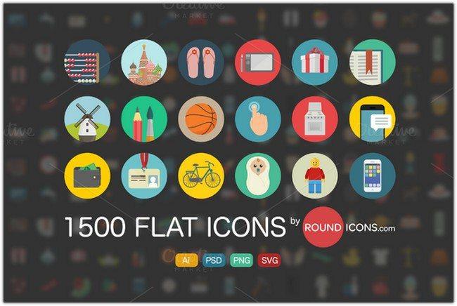 1500 Flat Icons Ai