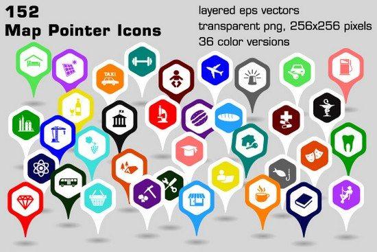 152 map pointer icons - hexagonal