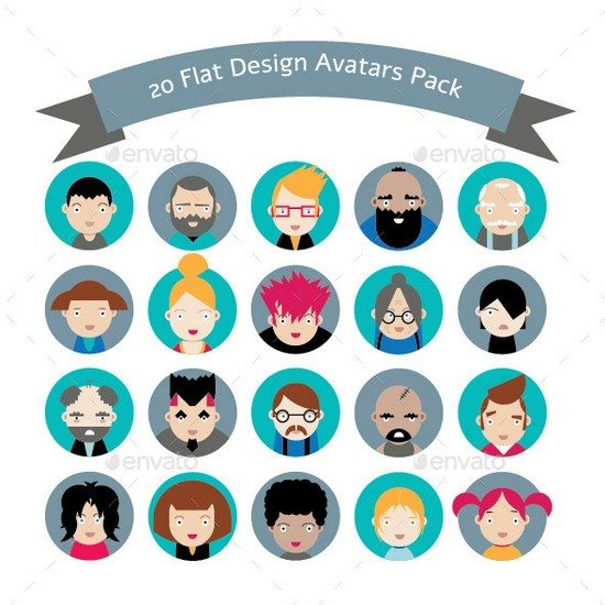 20 Flat Design Avatars Pack