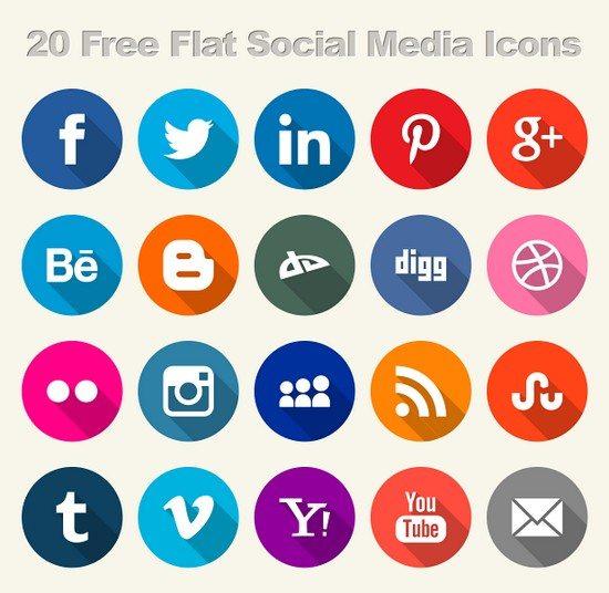 20 Free Flat Social Media Icons