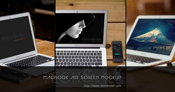 3 Macbook Air with Prespective Mockup Screen