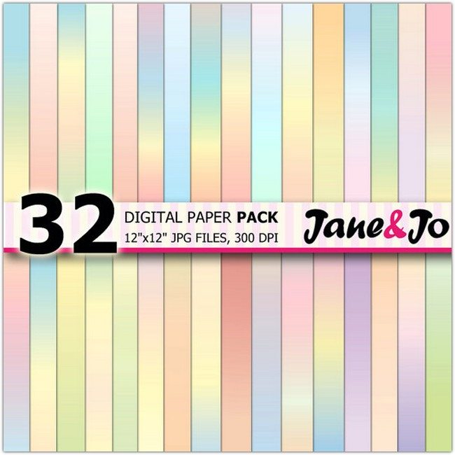 34 Pastel Digital Papers