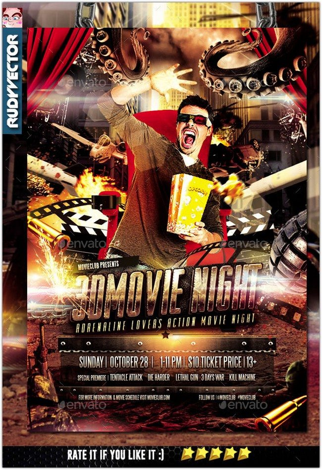3D Action Movie Night Flyer Design