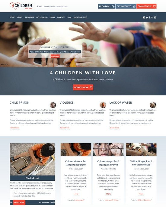 4 Children With Love-Charity WP Theme