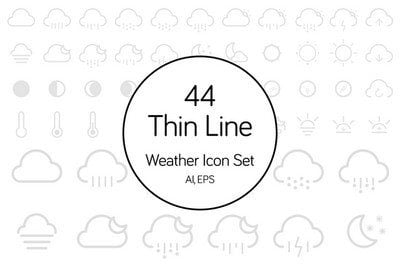 44 Thin Line Weather Icons Set