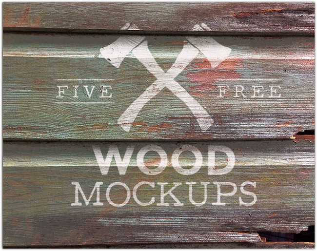 5 Free Weathered Wood Logo Mock Up