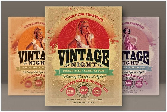 6 Retro Style Party Flyers