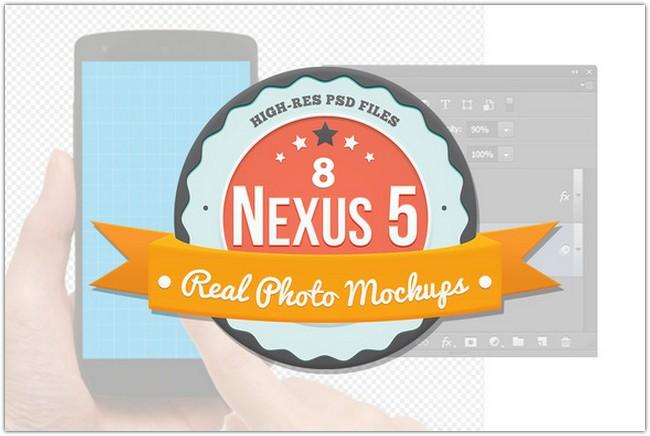 8 Nexus 5 Mockups for Photoshop