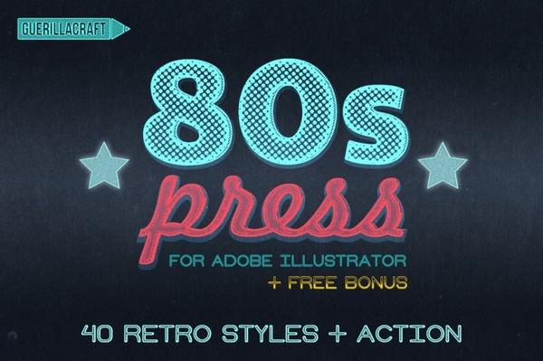 80'S PRESS – RETRO ILLUSTRATOR ACTIONS & STYLES