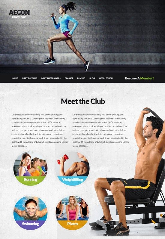 Aegon - Responsive Gym Fitness Club WordPress Theme
