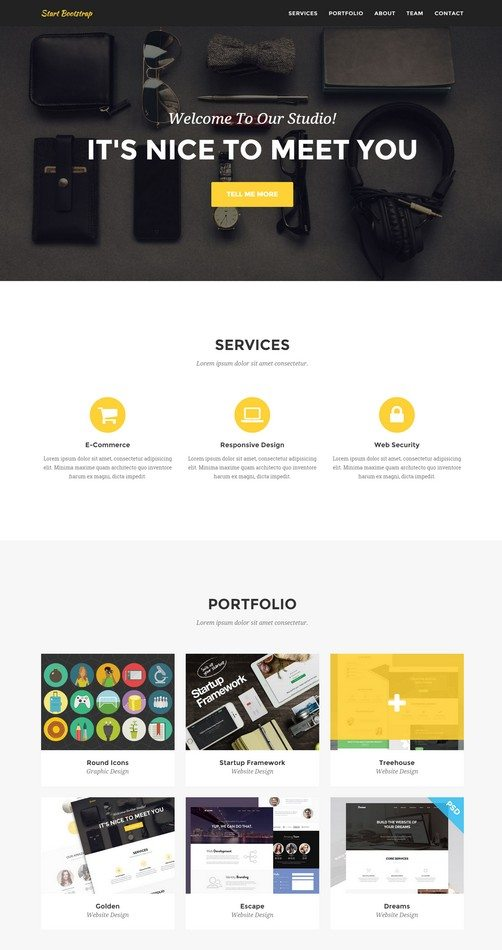 Agency A clean, stylish, one page Bootstrap portfolio theme