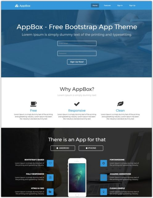 AppBox – Free App Landing Page Template